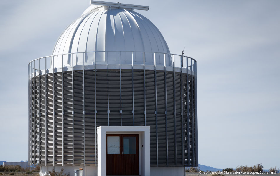 One-of-the-older-Observatory-telescopes,-Sutherland